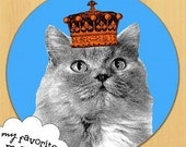 Fluffy GREY blue RUSSIAN type CAT in CROWN cuteness MOUSE PAD pop art MOUSEPAD