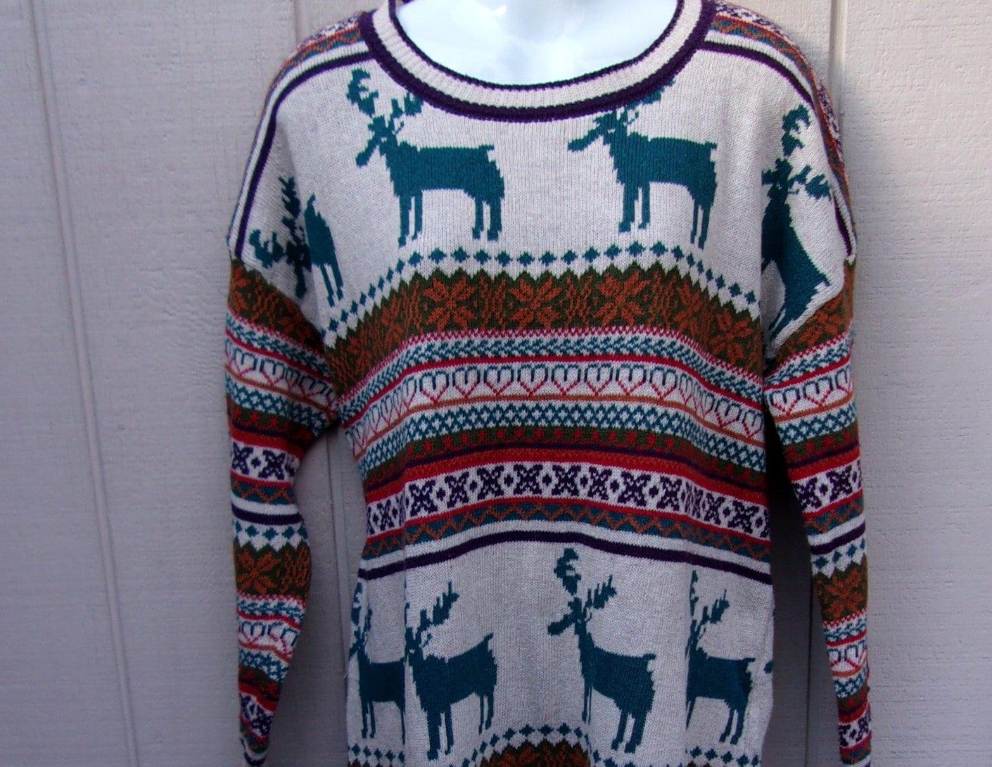 80s Sweatshirts, Sweaters, Vests | Women Vntge Xl Reindeer Ski Sweater  Fair Isle Knit  Size - Xxl $23.00 AT vintagedancer.com