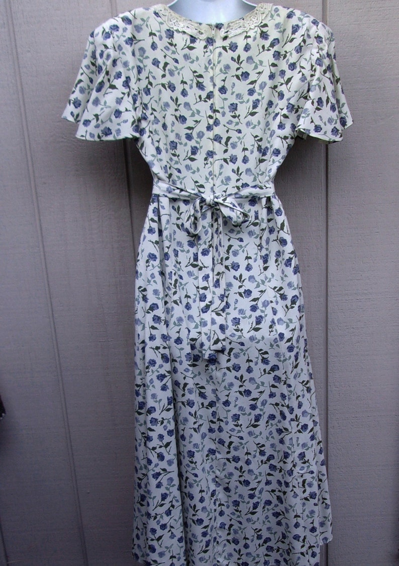90s Vntge Floral Dress Midi Maxi Tie Back  Blue Rose Flower Print  Size 6 8