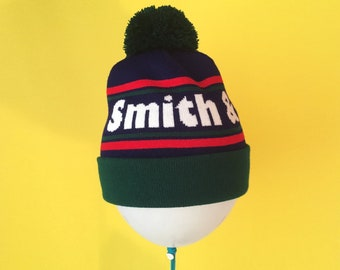 16d54827ee8 Custom Knit Beanie Hat - Double Stripe - Personalized Colors and Text