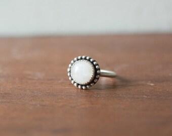 Moonstone Ring - Moonstone Engagement Ring Handmade Moonstone Sterling Silver Ring Sterling Silver Stone Bezel Stone Ring Rainbow
