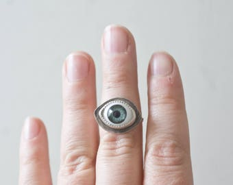 Handmade Eyeball Ring Stering Silver Eye Ring Third Eye Ring