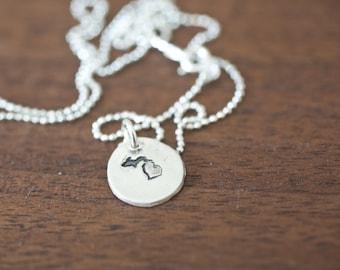 Tiny Michigan Necklace Silver Michigan Necklace State Charm State Necklace MI Small State Charm Michigan Charm Michigan Necklace