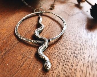 Sterling Silver Snake Necklace - Long Snake Pendant