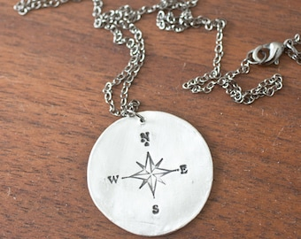large compass necklace - long necklace - bohemian pendant - directional necklace - compass necklace - arrow necklace - silver