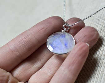 Moonstone Necklace Moonstone Circle Necklace Sterling Silver Pendant Faceted Healing Stone Cancer Stone