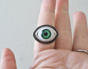 Handmade Eyeball Ring Sterling Silver Eye Ring Third Eye Ring Custom Made to Order