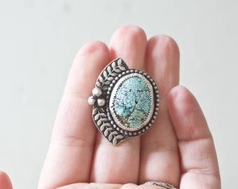 Turquoise Ring Sterling Silver Ring Sterling Silver Stone Bezel Stone Ring Silversmith Size 7 Handmade