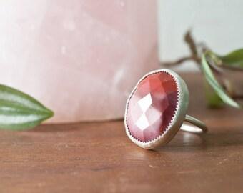 Mookaite Jasper Ring - Handmade Faceted Mookaite Sterling Silver Ring Sterling Silver Stone Bezel Stone Ring Size 8.5 Mookaite Moon Ring