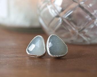 Moonstone Earrings - Moonstone Earrings Handmade Moonstone Sterling Silver Earrings Sterling Silver Stone Bezel Stone Gray Grey Moonstone