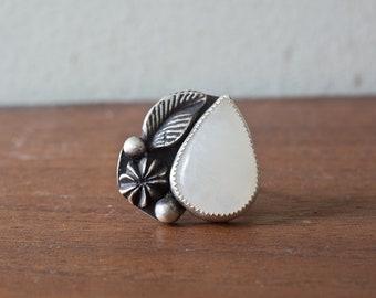 Moonstone Ring - Handmade Moonstone Sterling Silver Ring Sterling Silver Stone Bezel Stone Ring Size 8 Rainbow Moonstone Ring