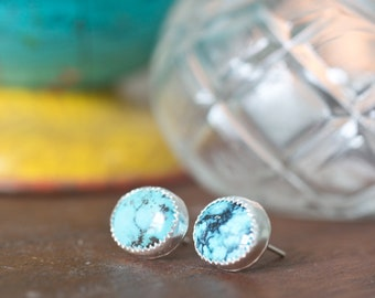 Turquoise Earrings - Handmade Turquoise Sterling Silver Earrings Sterling Silver Stone Bezel Stone Studs