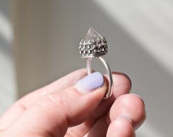 Quart Point Ring - Clear Quartz Ring -  Boho Ring - Fire and Ice Ring - Sterling Silver Quartz-  Quartz Jewelry - Crown Ring - Crystal Ring