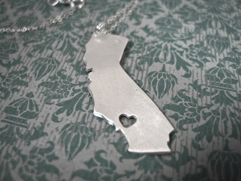 i heart California Necklace  Silver California State Necklace image 0