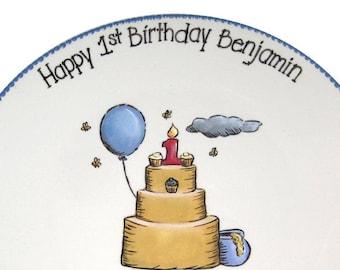 Classic Winnie Inspired 1st Birthday Signature Plate / Guest Book Alternative