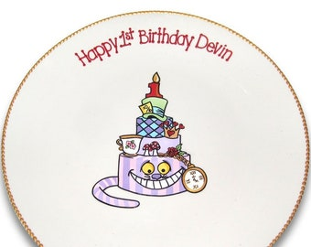 Alice in Wonderland Inspired Birthday Signature Plate / Guest Book Alternative