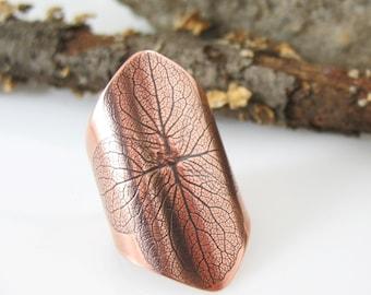Hydrangea Ring, Copper or Brass, Hydrangea Petal Ring