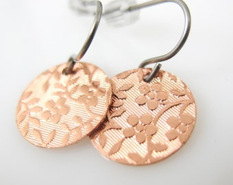 Copper Circle Earrings, Floral Drops