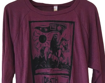 Tarot Death Card Raglan Sweater - American Apparel SOFT vintage feel - Available in sizes S, M, L