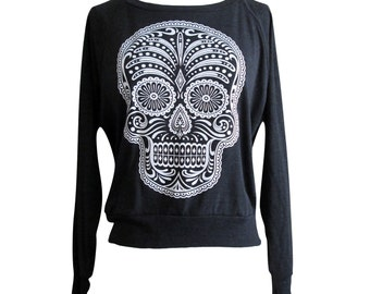 138023d53d89 Day of the Dead Raglan Sweater - Sugar Skull American Apparel SOFT vintage  feel - Available in sizes S
