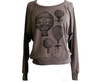 61cec9da0b Hot Air Balloon Sweater - Vintage Steampunk Balloons on a Raglan American  Apparel Soft Sweater - (Available in sizes S