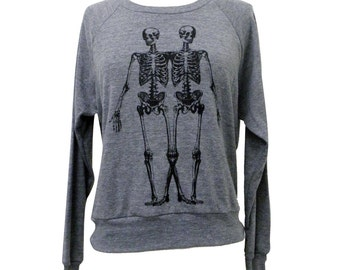 Skeleton Raglan Sweatshirt - Anatomical Skeletons American Apparel SOFT vintage feel - Available in sizes S, M, L