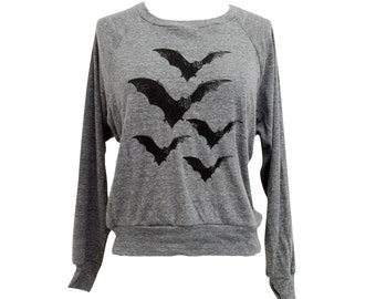 Bat Raglan Sweatshirt - BATS American Apparel SOFT vintage feel - Available in sizes S, M, L