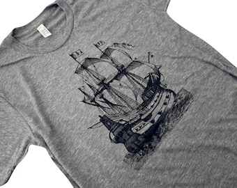 Mens Pirate Ship T-Shirt - Nautical Boat Mens T-Shirt - Available in sizes S, M, L, XL