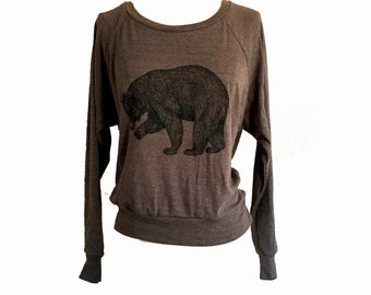 BEAR Raglan Sweatshirt - Brown Sweater American Apparel SOFT vintage feel - (Sizes S, M, L)
