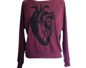 Anatomical Heart Raglan Sweater - American Apparel SOFT vintage feel - Available in sizes S, M, L