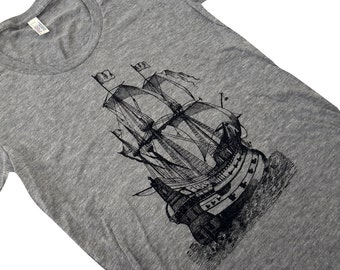 Pirate Ship T-Shirt - Nautical Boat  ladies Tri-blend shirt - (Available in sizes S, M, L, XL)