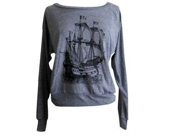 Pirate Ship Raglan Sweater - American Apparel SOFT vintage feel - Available in sizes S, M, L