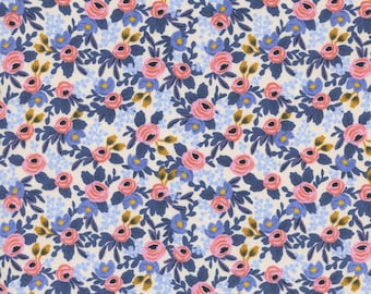 Navy Rifle Co floral cotton canvas Rifle floral Les Fleurs fabric cotton canvas les fleurs rosa upholstery Fabric by the yard