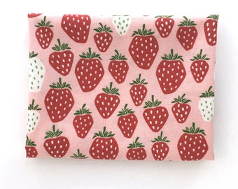 Strawberry Print Fabric: FAT QUARTER of pink quilting cotton from Under the Apple Tree by Loes Van Oosten for Cotton + Steel