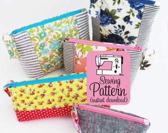 Intro to Improv Zip Pouches PDF Sewing Pattern |  Instant download intermediate sewing project to make zip top zipper pouches in five sizes.