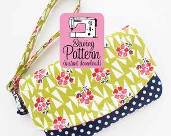 Zip Pocket Pouch Wristlet PDF Sewing Pattern | Sew a wristlet wallet with two pockets using this intermediate level sewing pattern.
