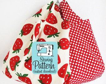 Grocery Bag PDF Sewing Pattern (Digital Delivery): Beginner friendly sewing project to make a grocery tote bag in three sizes.