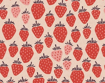 Strawberry Print Cotton Linen Fabric: Under The Apple Tree CANVAS by Loes Van Oosten for Cotton + Steel