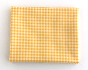 Yellow Gingham Fabric: FAT QUARTER of checked quilting cotton fabric in shades of gold.
