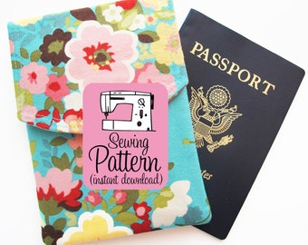 Passport Pouch PDF Sewing Pattern (Digital Delivery): Sew a two pocket pouch to hold up to three passports.