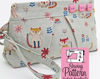 Pleated Wristlet PDF Sewing Pattern | Sew a zip top wristlet clutch handbag purse in 3 sizes with this intermediate sewing project tutorial.