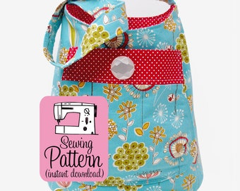 Bucket Bag PDF Sewing Pattern   Shoulder bag pattern to make a deep tote to use as a purse or project tote.