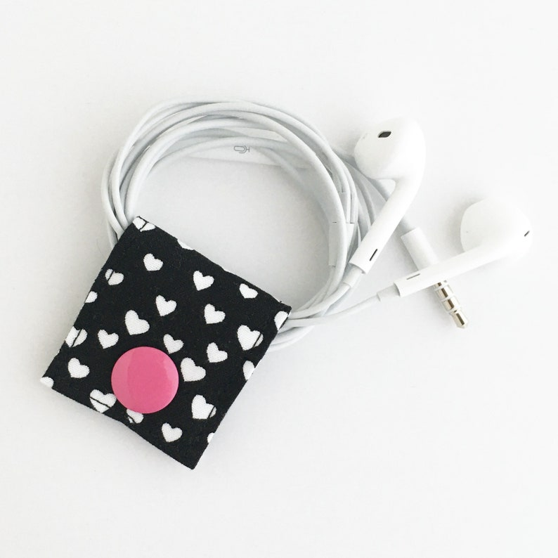 Cord Keeper: Black and white heart print fabric cord and cable image 0