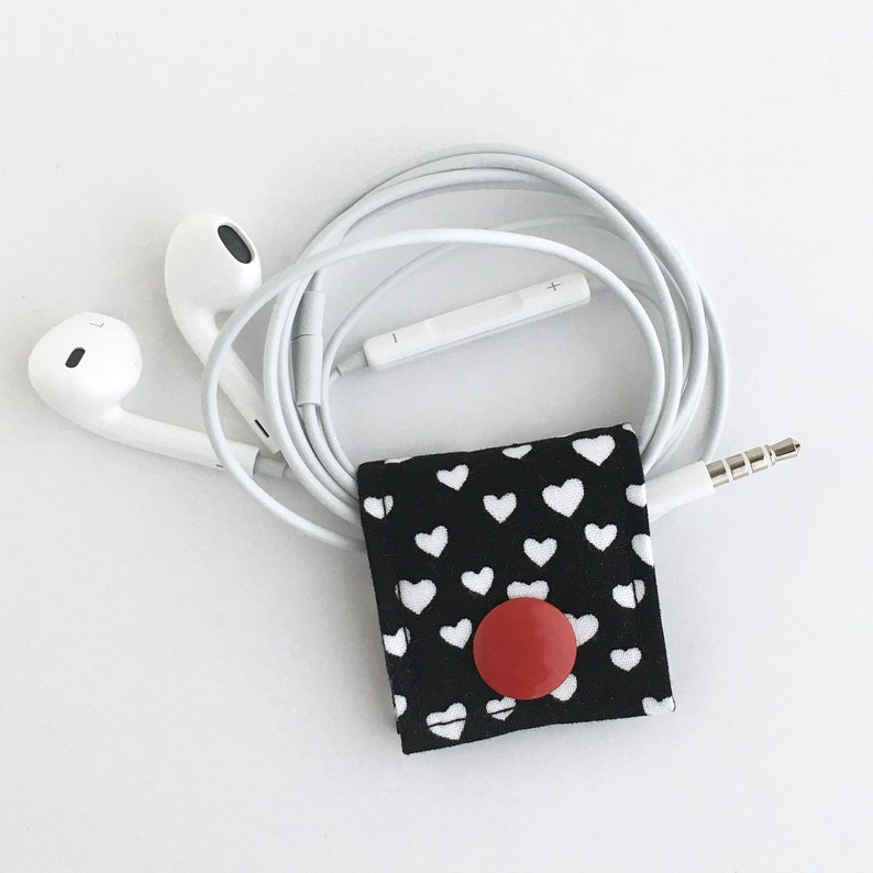 Cord Keeper: Cute Little Hearts cotton fabric cord and cable image 0