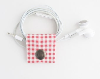 Small Cord Keeper | Pink gingham cord organizer for small cords like phone chargers, earbuds, camera cables, or keyboard or mouse cords.