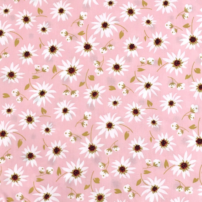 Pink Floral Fabric: City Bound daisy print quilting cotton image 1
