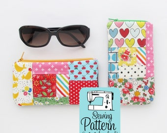 Patchwork Glasses Case PDF Sewing Pattern | Intermediate sewing project to make padded zip top pouches for sunglasses, readers, phones, etc.