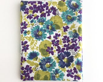 Purple and Teal Floral Fabric: FAT QUARTER of Cassandra by Skipping Stone Studio for Clothworks