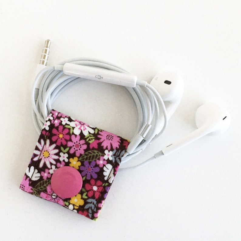 Bloom Cord Keeper: Floral cotton fabric earbud cord organizer image 0