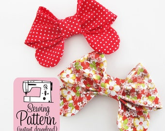 Bows PDF Sewing Pattern   Sew medium size fabric bows to use for girlie bow ties, hair bows, or as embellishments for bags and accessories.